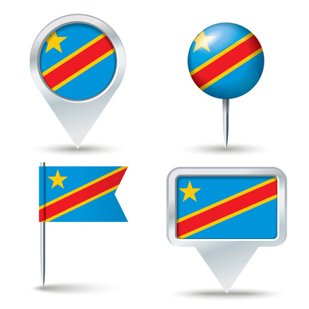 map pins: Map pins with flag of Congo (DRC) - vector illustration Illustration
