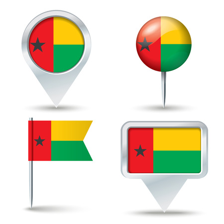 map pins: Map pins with flag of Guinea-Bissau - vector illustration