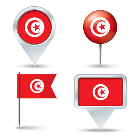 map pins: Map pins with flag of Tunisia - vector illustration
