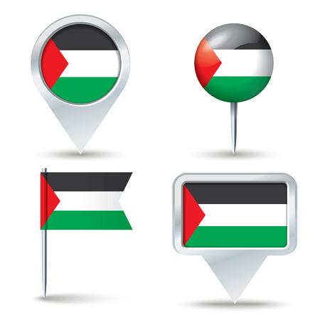 gaza: Map pins with flag of Gaza Strip - vector illustration Illustration