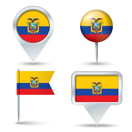 map pins: Map pins with flag of Ecuador - vector illustration Illustration
