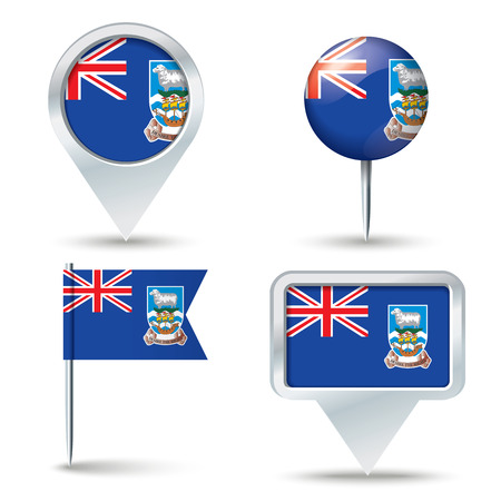 map pins: Map pins with flag of Falkland Islands - vector illustration