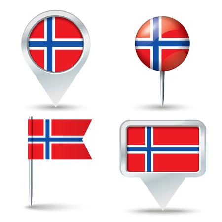 jan: Map pins with flag of Jan Mayen - vector illustration Illustration