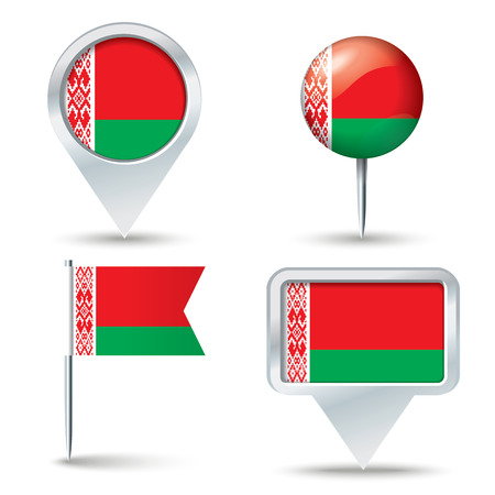 map pins: Map pins with flag of Belarus - vector illustration Illustration