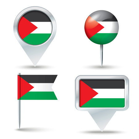 west bank: Map pins with flag of West Bank - vector illustration