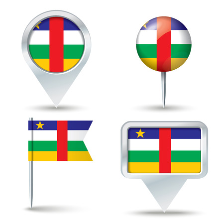 central african republic: Map pins with flag of Central African Republic - vector illustration Illustration
