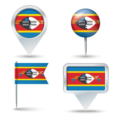 map pins: Map pins with flag of Swaziland - vector illustration Illustration