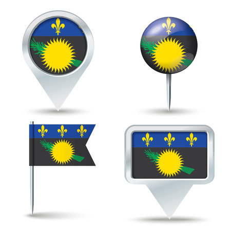 guadeloupe: Map pins with flag of Guadeloupe - vector illustration