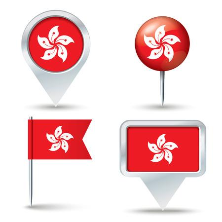 map pins: Map pins with flag of Hong Kong - vector illustration Illustration