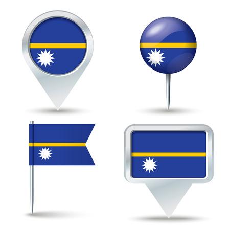 map pins: Map pins with flag of Nauru - vector illustration