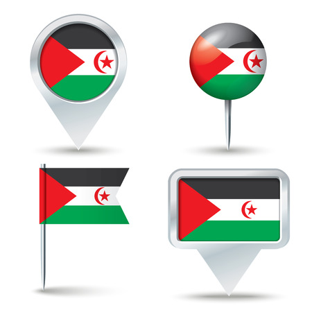 map pins: Map pins with flag of Western Sahara - vector illustration
