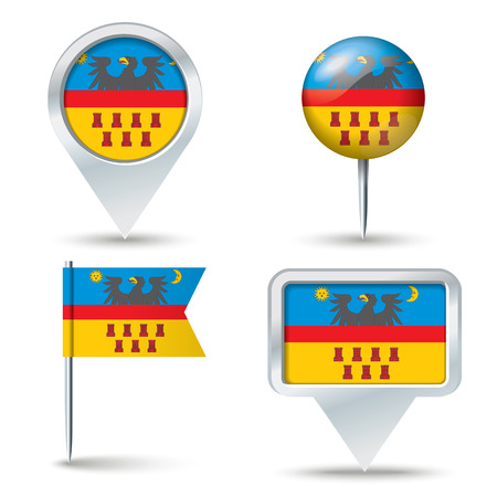 transylvania: Map pins with flag of Transylvania - vector illustration