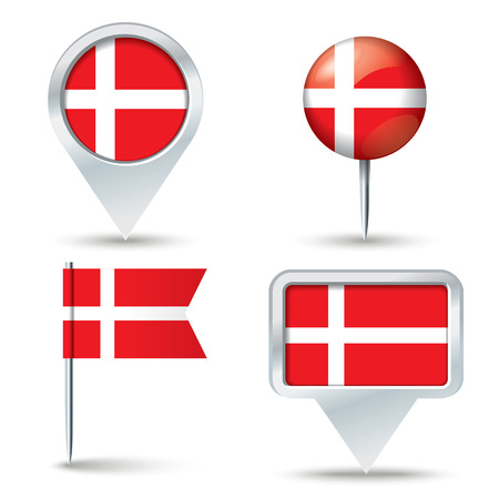 map pins: Map pins with flag of Denmark - vector illustration