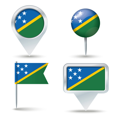 map pins: Map pins with flag of Solomon Islands - vector illustration