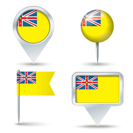 niue: Map pins with flag of Niue - vector illustration