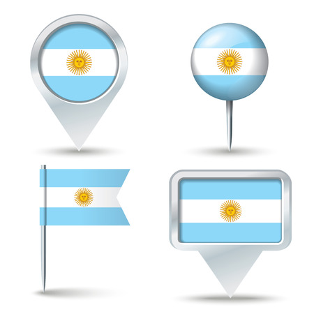 map pins: Map pins with flag of Argentina - vector illustration