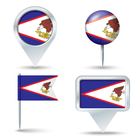 map pins: Map pins with flag of American Samoa - vector illustration