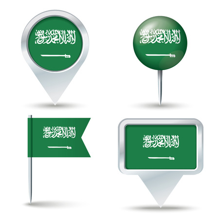 flags world: Map pins with flag of Saudi Arabia - vector illustration