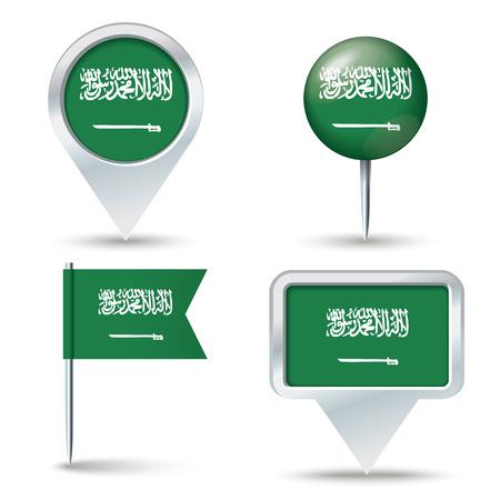 banderas del mundo: Mapa pins con bandera de Arabia Saudita - ilustración del vector