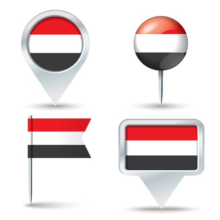 map pins: Map pins with flag of Yemen - vector illustration