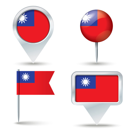 map pins: Map pins with flag of Taiwan - vector illustration Illustration