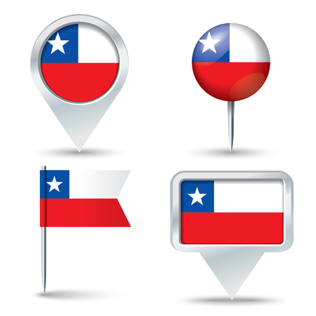 map pins: Map pins with flag of Chile - vector illustration