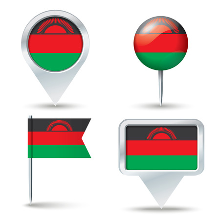 map pins: Map pins with flag of Malawi - vector illustration