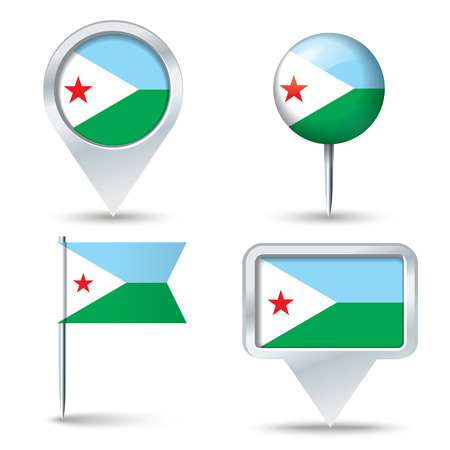map pins: Map pins with flag of Djibouti - vector illustration Illustration