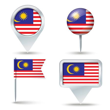 map pins: Map pins with flag of Malaysia - vector illustration