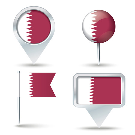 map pins: Map pins with flag of Qatar - vector illustration