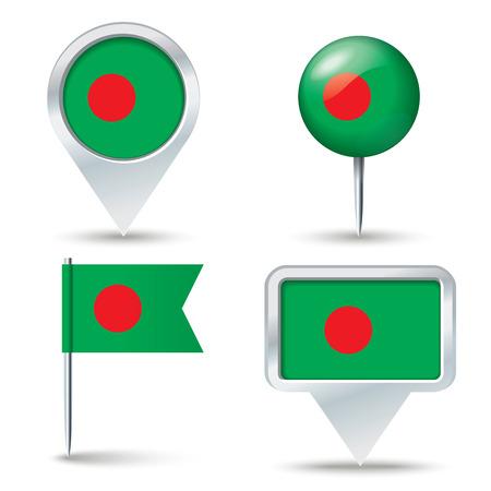 map pins: Map pins with flag of Bangladesh - vector illustration Illustration