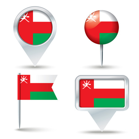 map pins: Map pins with flag of Oman - vector illustration Illustration