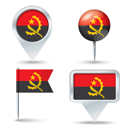 map pins: Map pins with flag of Angola - vector illustration