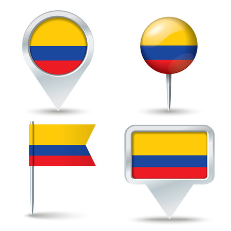 map pins: Map pins with flag of Colombia - vector illustration