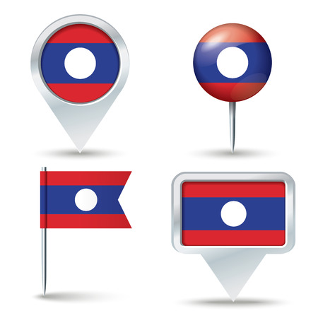 map pins: Map pins with flag of Laos - vector illustration Illustration