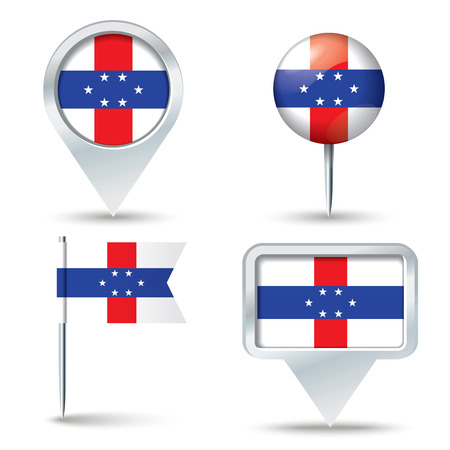 map pins: Map pins with flag of Netherlands Antilles - vector illustration