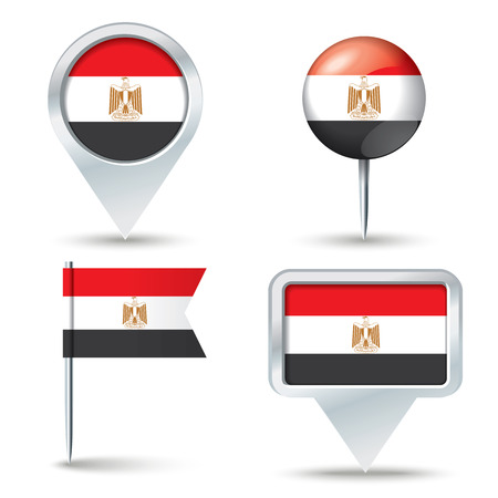 map pins: Map pins with flag of Egypt - vector illustration