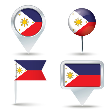 map pins: Map pins with flag of Philippines - vector illustration