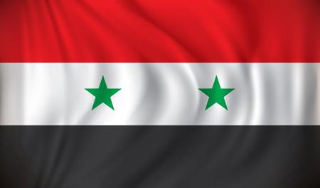 personas saludando: Bandera de Siria - ilustración vectorial Vectores