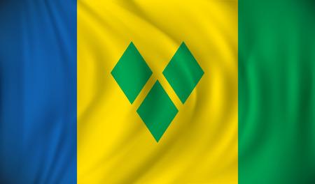 grenadines: Flag of Saint Vincent and Grenadines - vector illustration