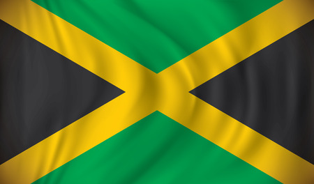 waving flag: Flag of Jamaica - vector illustration