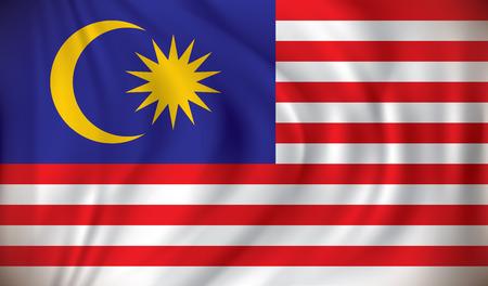 black flag: Flag of Malaysia - vector illustration Illustration