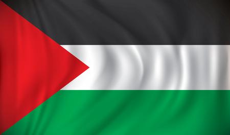 illustrated globes: Flag of West Bank - vector illustration Illustration