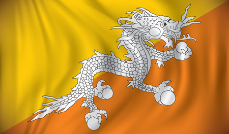 shilouette: Flag of Bhutan - vector illustration Illustration