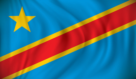 foreign nation: Flag of Democratic Republic of the Congo - vector illustration