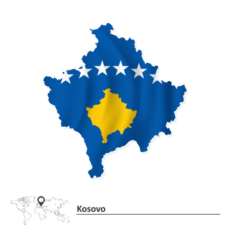 pentacle: Map of Kosovo with flag illustration