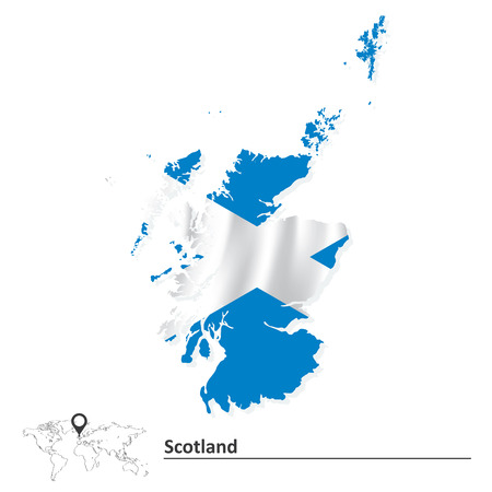 scotland: Map of Scotland with flag illustration