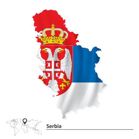 serbien: Karte von Serbien mit Flagge Illustration