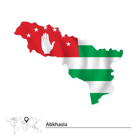 sukhumi: Map of Abkhazia with flag illustration