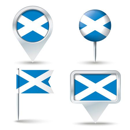 Map pins with flag of Scotland illustration Ilustracja